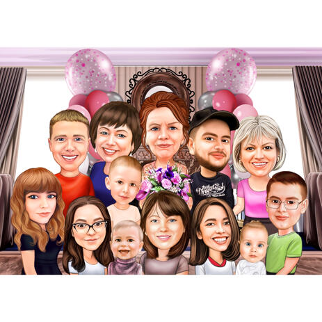 Large Family Caricature with Custom Background in Colored Style - example