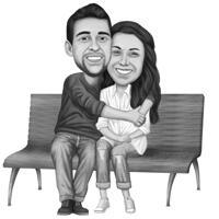 Paar auf Bank Schwarz-Weiß-Karikatur aus Fotos