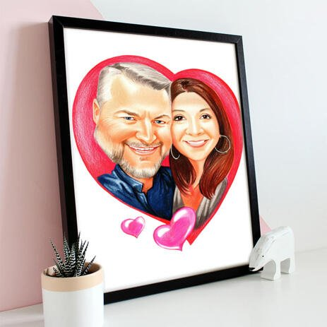 Couple in Heart Caricature Cartoon from Photos Printed as Poster - example