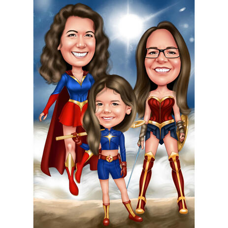 Girls Super Heroes Full Body Caricature in Color Style from Photos - example