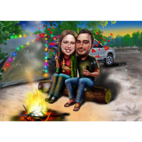 Camping Colored Style Couple Caricature from Photos with Campfire - example