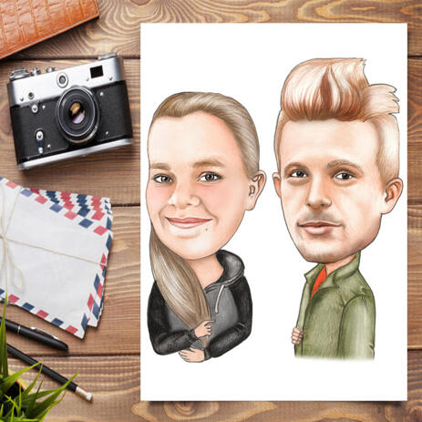 Brother and Sister Cartoon Portrait in Color Style Poster Print - example