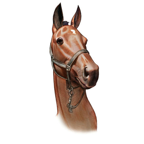 Horse Portrait -maalaus värillisessä tyylissä valokuvista - example
