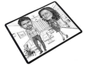 Colleagues Caricature on mouse pad