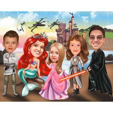 Customized Movie Inspired Characters for Family Caricature Portrait Gift from Photos - example