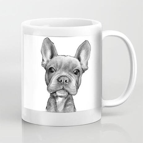 Print on Mug: Dog Caricature Hand Drawn in Black and White Style from Photos - example