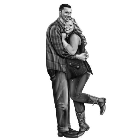 Full Body Black and White Couple Cartoon Portrait from Photos - example