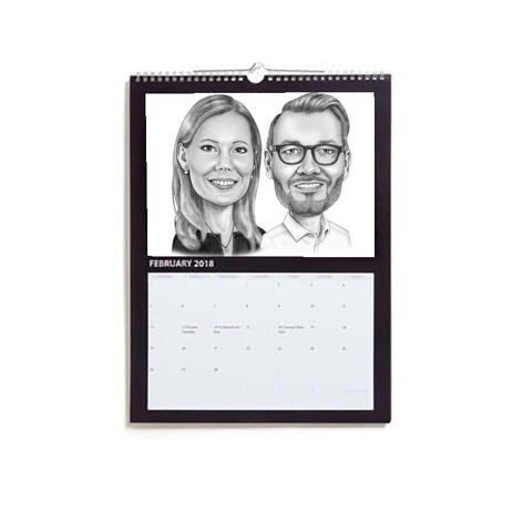 Business Partners Caricature on Calendar - example