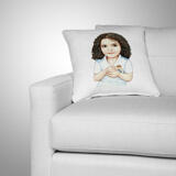 Kid Caricature Drawing Printed as Pillow