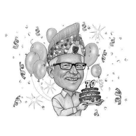 70 Anniversary Birthday Caricature from Photos - example