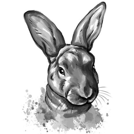 Graphite Rabbit Cartoon Portrait in Watercolor Style from Photos - example