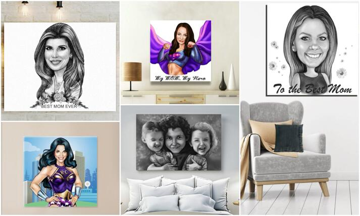 Mother's Day Caricature Canvas large example