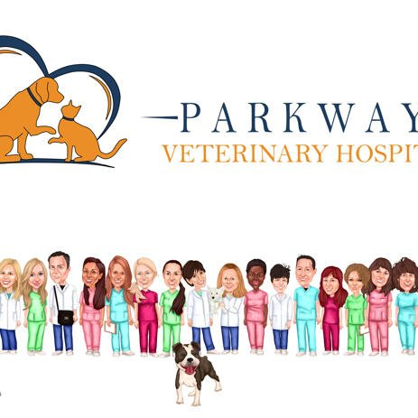 Group Caricature for Veterinary Doctors - example