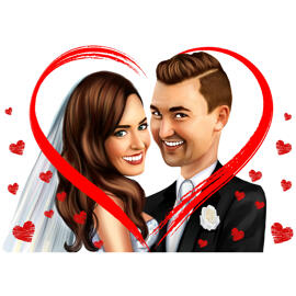 Wedding Couple Cartoon Drawing in Colored Digital Style