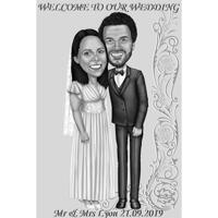 Bride and Groom Wedding Invitation in Black and White Style