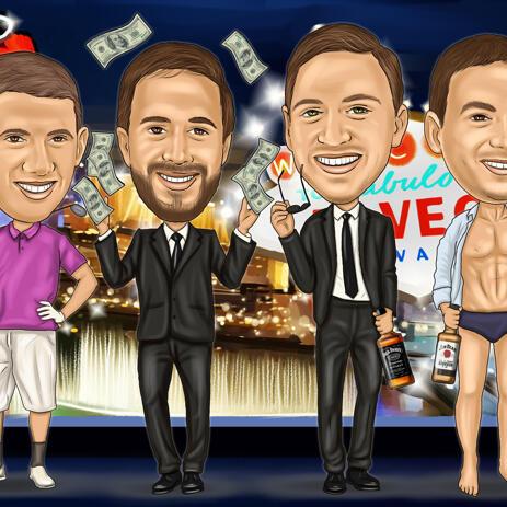 Vegas Groomsmen Cartoon Gift Drawing - example