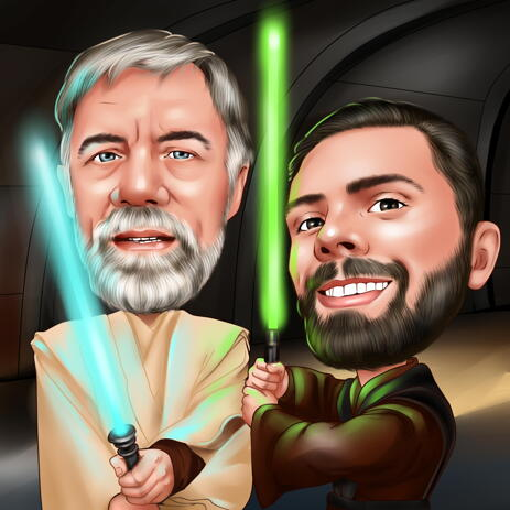 Two Persons Star Wars Inspired Caricature in Head and Shoulders Color Style from Photos - example