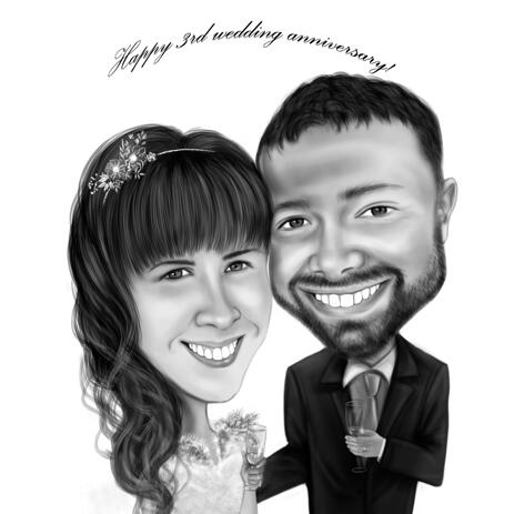 Custom Couple Happy 3rd Wedding Anniversary Caricature in Black and White Style - example
