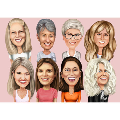 Custom Head and Shoulders Group Female Caricature Portrait with One Color Background - example
