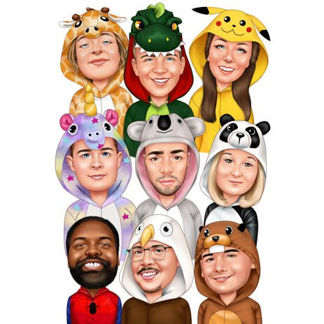 Group Colored Style Caricature Drawing in Funny Costumes from Photos - example