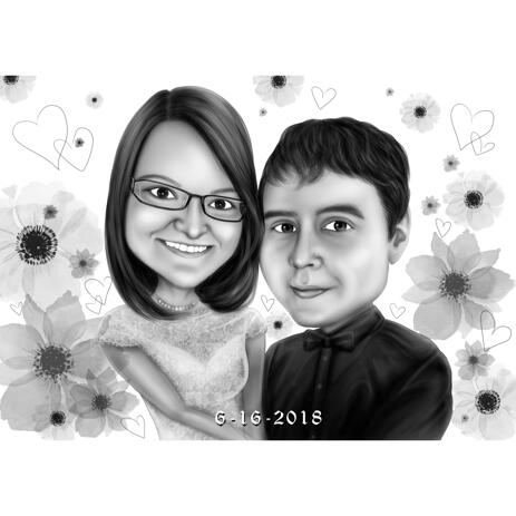 Wedding Couple Caricature in Black and White Style with Flowers Background - example