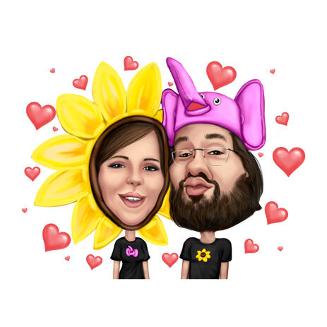 Funny Fancy-Dress Couple Cartoon Caricature from Photos for Valentine's Day Gift - example
