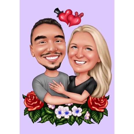 Couple Caricature Drawing Gift with Floral Ornaments on Colored Background - example
