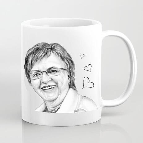 Mug with Printed Drawing: Personalized Portrait Drawing from Photo - example