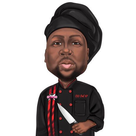 Black Chef Uniform Cartoon Caricature Portrait in Color Style from Photo - example