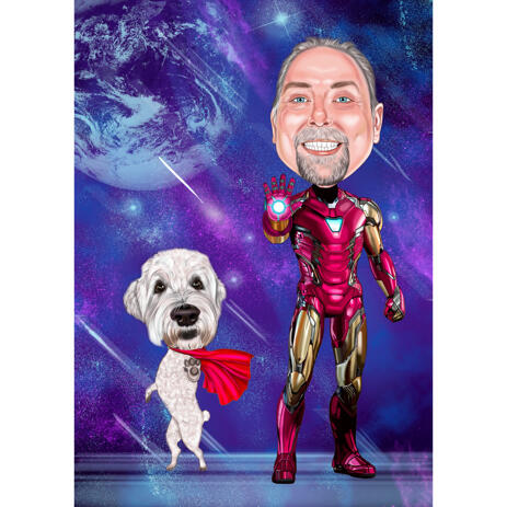 Full Body Superhero Person and Dog Caricature with Magic Galaxy Background - example