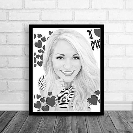 Mother's Day Portrait on Poster: Personalized Portrait Drawing from Photo - example