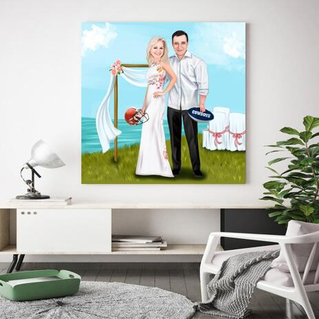 Printed Bride and Groom Caricature on Canvas - example