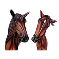 Couple of Horses Cartoon Portrait in Color Style from Photos