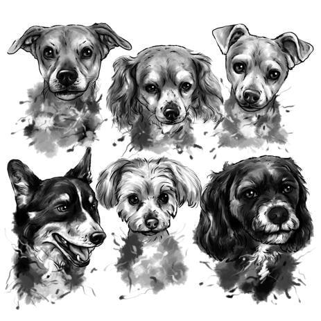 Групповой портрет собак в черно-белом акварельном стиле. - example