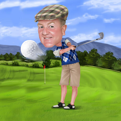 Golf Caricature for Birthday or Retirement Gift - example