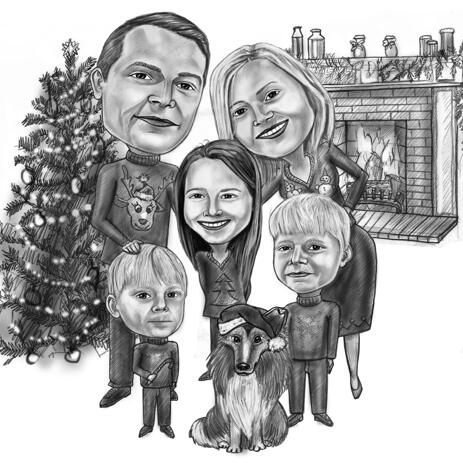 Family Christmas Caricature Portrait in Black and White Style - example