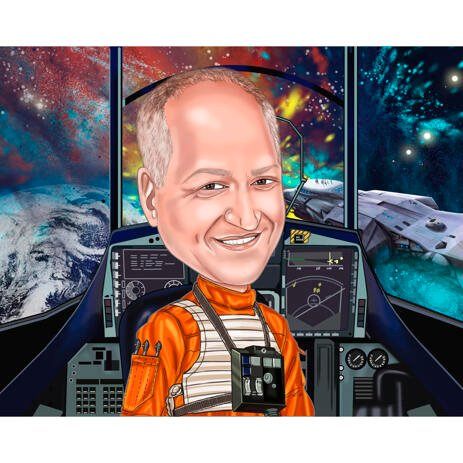 Astronaut Caricature Portrait from Photos with Space Background - example