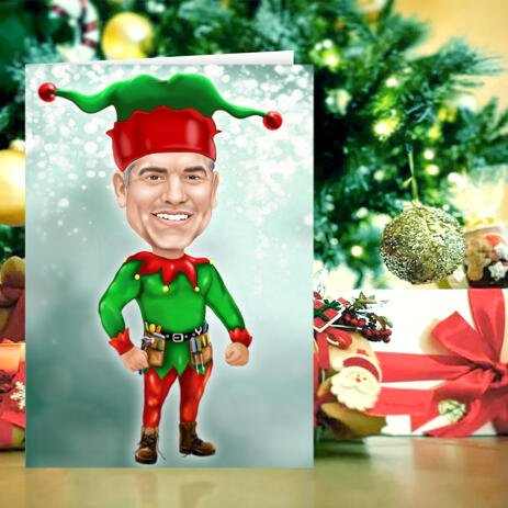 Custom Christmas Elf Caricature Drawing from Photo with Set of 10 Cards - example