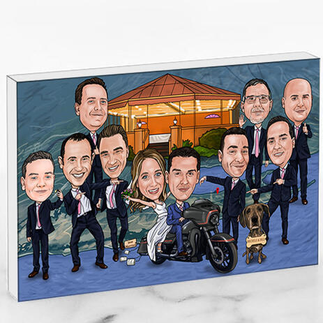 Wedding Group Caricature Printed as Photo Block - example