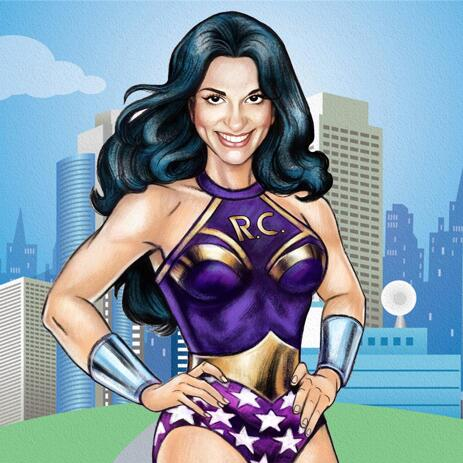 Woman Superhero Cartoon Drawing from Photo in Colored Digital Style - example
