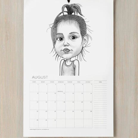 Baby Girl Caricature Printed on Calendar - example