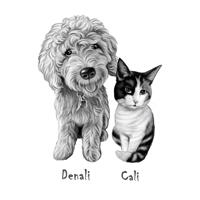 Dog and Cat Caricature Portrait in Black and White Style