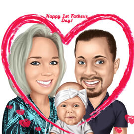 Happy First Father's Day Caricature Gift