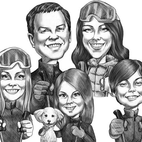 Funny Family Caricature Drawing in Black and White Pencils Style - example