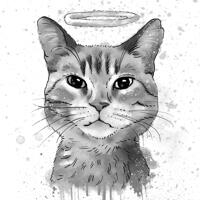 Cat Memorial Portrait with Halo in Watercolor Grayscale Style from Photo