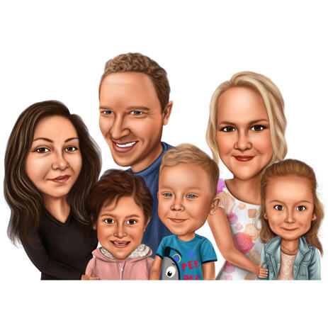 Funny Family Caricature from Photos for Family Reunion - example
