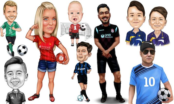 Soccer Football Caricatures large example
