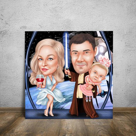Couple with Baby as Any Movie Characters for Father Gift on Canvas Print - example