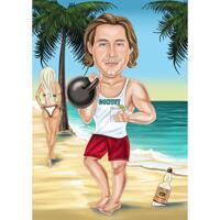 Bodybuilder tecknad karikatyr i färgstil från foto