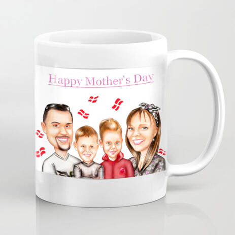 Personalized White Ceramic Mug: Family Cartoon Illustration from Photo - example